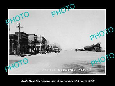 OLD LARGE HISTORIC PHOTO OF BATTLE MOUNTAIN NEVADA, THE MAIN ST & STORES c1930
