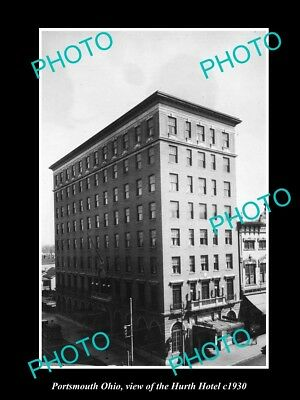 OLD LARGE HISTORIC PHOTO OF PORTSMOUTH OHIO, VIEW OF THE HURTH HOTEL c1930