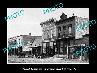 OLD LARGE HISTORIC PHOTO OF RUSSELL KANSAS, THE MAIN STREET & STORES c1890