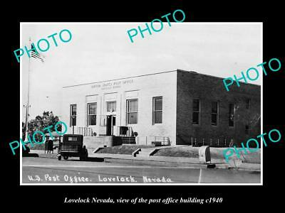OLD LARGE HISTORIC PHOTO OF LOVELOCK NEVADA, THE POST OFFICE BUILDING c1940