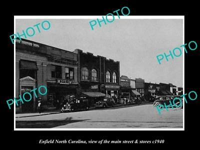 OLD LARGE HISTORIC PHOTO OF ENFIELD NORTH CAROLINA, THE MAIN St & STORES c1940
