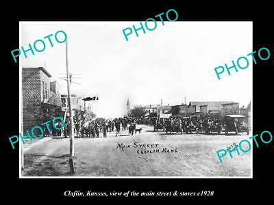 OLD LARGE HISTORIC PHOTO OF CLAFLIN KANSAS, THE MAIN STREET & STORES c1920