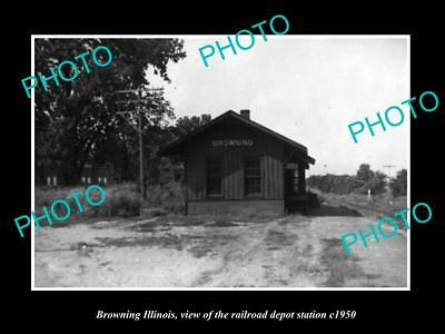 OLD LARGE HISTORIC PHOTO OF BROWNING ILLINOIS, THE RAILROAD DEPOT STATION c1950