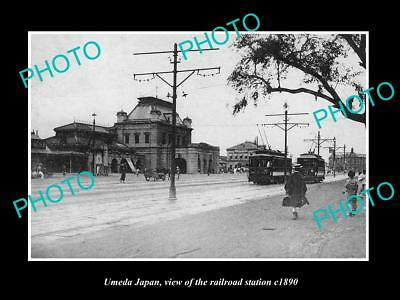 OLD LARGE HISTORIC PHOTO OF UMEDA JAPAN, VIEW OF THE RAILROAD STATION c1890