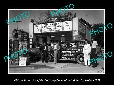 OLD LARGE HISTORIC PHOTO OF EL PASO TEXAS, THE PASTOTEX SERVICE STATION c1935