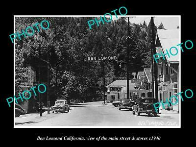 Old Large Historic Photo Of Ben Lomond California, The Main Street & Stores 1940
