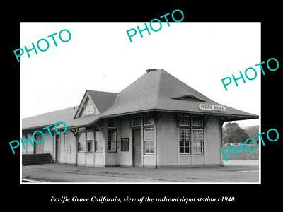OLD LARGE HISTORIC PHOTO OF PACIFIC GROVE CALIFORNIA, THE RAILROAD DEPOT c1940