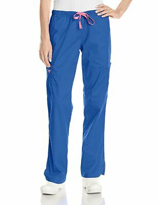 Med Couture Womens Signature Cargo Gigi Scrub Pant, NWT, Royal/Pink, X-Large