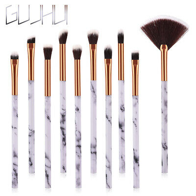 10pcs Marble Eyeshadow Brushes Set Foundation Eyeliner Lip Blending Makeup Brush