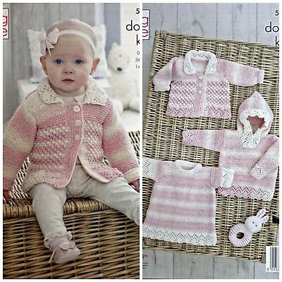 KNITTING PATTERN Baby Lacy Hoodie Angel Top and Jacket Drifter DK 5158