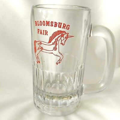 Unicorn Bloomsburg Fair Glass Soda Beer Mug PA Vintage Pennsylvania Red Clear