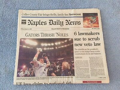 FLORIDA GATORS 1996 National Champions Naples Daily News Wuerffel Spurrier