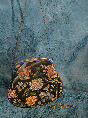 1920s Edwardian Antique evening purse with Embroidery and enamel in clasp