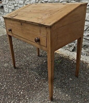 Antique Victorian stripped pine CLERKS DESK teachers slope table table drawer