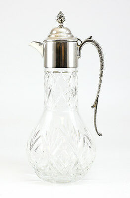 20th Century Continental Silver Plate and Hand Cut Crystal Pitcher; Acorn Finial