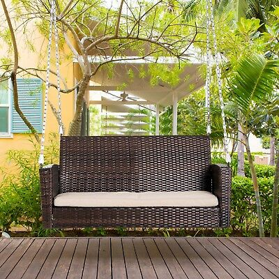 2 Person Outdoor Wicker Porch Swing Chair Garden Hanging Bench Seat