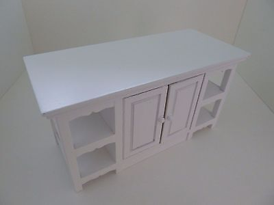 Dolls House Miniature 1:12th Scale Furniture Kitchen White Island Opening Doors