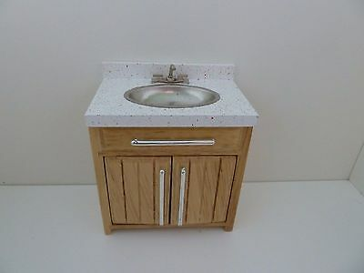 Dolls House Miniature 1:12 Scale Sink w Opening Doors Wood Kitchen Furniture
