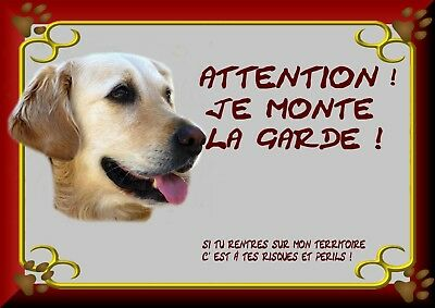 Pancarte Attention Chien Plastifiee Labrador Creme 1
