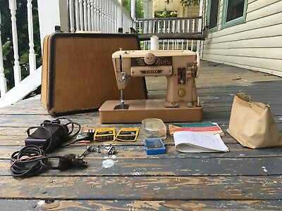 Singer 401A Industrial Strength Sewing Machine with Tweed Travel Case and Extras