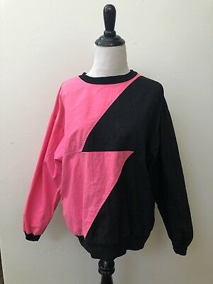 80's 90's punk rock hot pink and black Shirt. Very Cool!! Sz Small