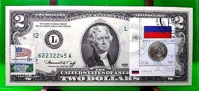 Money Us $2 Dollars 1976 Federal Reserve Note Flag Of Russia Coin Gem Unc
