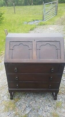 Vintage Old Oak Bureaux / Desk Old Possibly Charm? 3 Drawer with Pigeon Holes