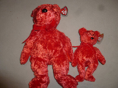 New Ty Beanie Babies Baby Bear Buddy Set Lot Sizzle Nwt Large Small Red 2001 Toy