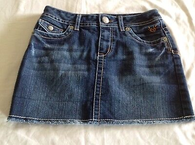 Justice Girl's Denim Skirt W/Attached Shorts, Distressed, Size 10R, EUC