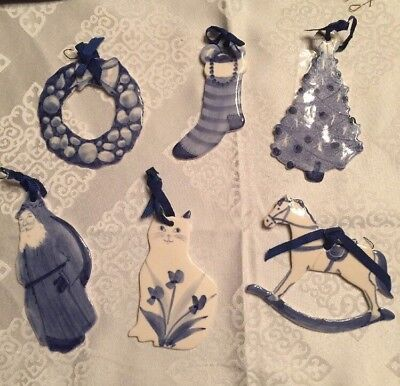 Lot: 6 Rocky Marsh Pottery Blueberry Muffin Handmade Christmas Ornaments Signed