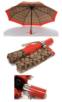 Coach umbrella signature C print khaki vermillion red (Full Size Automatic) New.