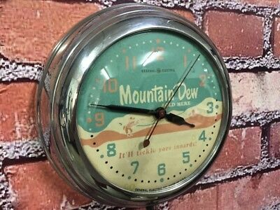 VTG GE MOUNTAIN DEW SODA ICE CREAM PARLOR-CHROME 50's DINER-CAFE WALL CLOCK SIGN