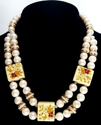 Vintage Faux Champagne Pearl and Flower Block Tile Costume Necklace