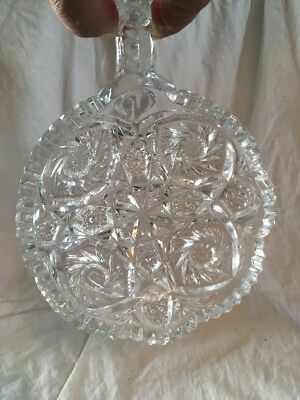Cut Lead Glass Star Handled Small Dish Nappy Brilliant Fine Antique 6""