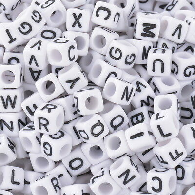 200PCS 6mm White cube Acrylic letter beads 3mm hole Alphabet loose A - Z
