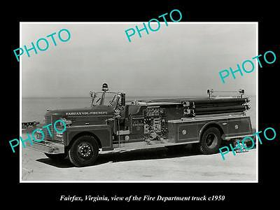 OLD LARGE HISTORIC PHOTO OF FAIRFAX VIRGINIA, THE FIRE DEPARTMENT TRUCK c1950