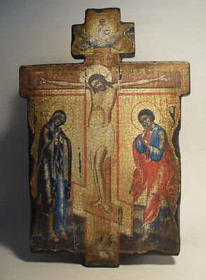 Handmade copy ancient ORTHODOX Prayer Cross ICON Crucifixion of Jesus Christ K1