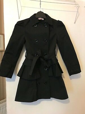Girls black jacket with belt, worn but in excellent condition size 5-6 years