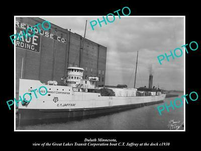 OLD LARGE HISTORIC PHOTO OF DULUTH MINNESOTA, GREAT LAKES BOAT CT JAFFRAY c1930