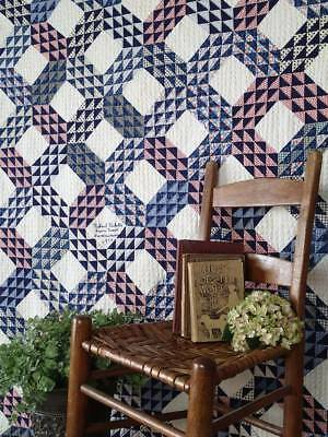 Stunning Vintage 1930 Blue & White Ocean Waves QUILT Signed Dated