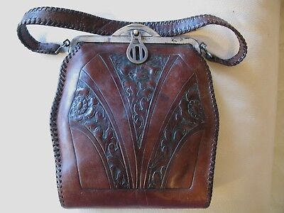 Antique Art Nouveau Deco Floral Hand Tooled Leather Purse Turnlock MEEKER