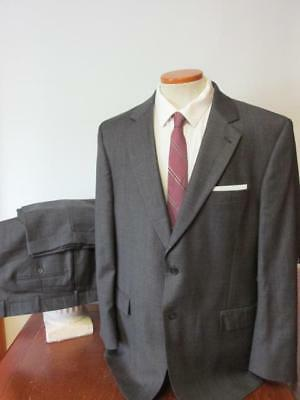 JOS A BANK SIGNATURE COLL 2 BTN WOOL SUIT 46R 40x31 Dark Gray Plaid