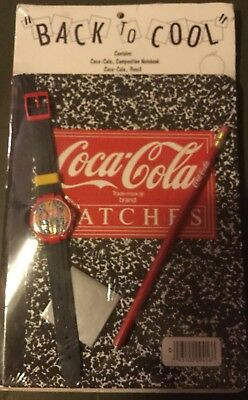 "Back To ""Cool"" Coca-cola Collectible Notebook, Swiss-made Watch, And Pencil"