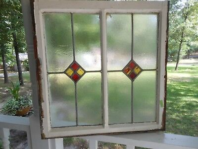 "RD-207 Lovely Older Leaded Stained Glass ""Double"" Window F/ England 25 1/4 X 25"
