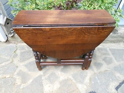 "Solid Oak OVAL Double Drop Leaf Gate Leg Table Primative ""Pegged"" F/France"