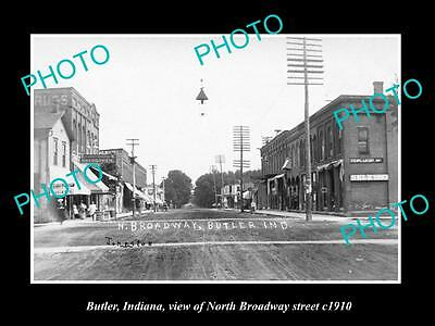 OLD LARGE HISTORIC PHOTO OF BUTLER INDIANA, VIEW OF NORTH BROADWAY St c1910