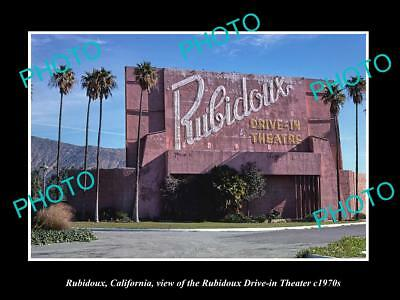 OLD LARGE HISTORIC PHOTO OF RUBIDOUX CALIFORNIA, THE DRIVE IN THEATER c1970