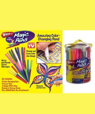Lot of 2 Magic Pens Color Changing Markers Wham O On TV Washable Stencils 20 Pen