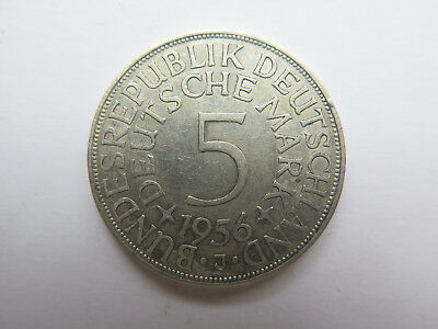 1956 J GERMANY 5 DEUTSCHE MARK SILVER COIN in VERY NICE COLLECTABLE CONDITION