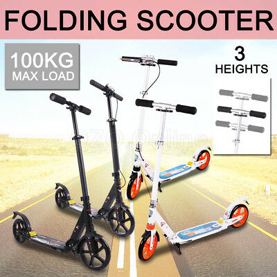 200MM Big Wheel Foldable Push Scooter Commuter Dual Suspension Kick Adult Kids